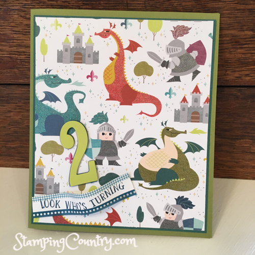 Dinosaur Birthday Card for a 2-Year Old