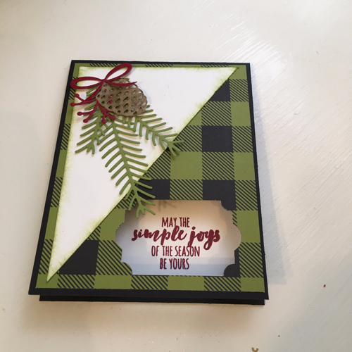 Buffalo Plaid Peek a Boo Window Christmas Card by Toni Arnold