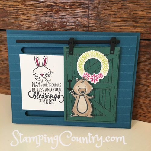 Sliding Barn Door Card With We Must Celebrate Stamping