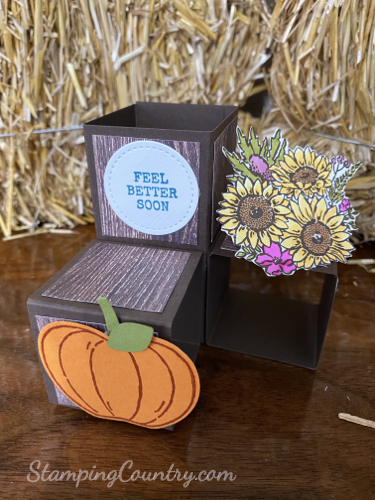 Pumpkins and Sunflowers Cubed Pop Up Card